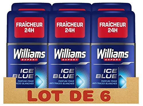 Williams Expert Déodorant Homme Stick Antibactérien, Fraîcheur 24h, Ice Blue, Parfum Frais et Anti-Traces Blanches Formule Testée Dermatologiquement (Lot de 6x75ml)