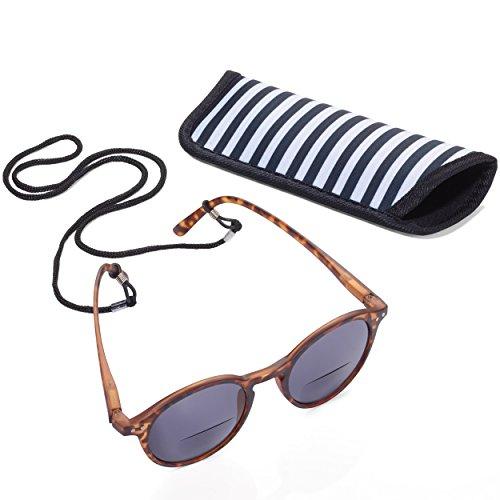 TROIKA SUN READER 2 - SUR10/BR - Lesesonnenbrille mit Etui - bifokal - Stärke +1,00 dpt - Lesebrille + Sonnenbrille - Polykarbonat/Acryl/Mikrofaser - braun - das Original