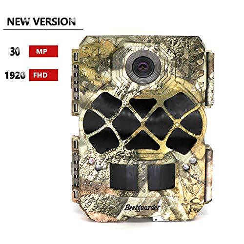 Bestguarder Wildkamera 30 Megapixel 1920p Full HD, Jagdkamera mit 48Stk. 940 nm, nicht leuchtende IR-LEDs, Nachtsicht, IP68 Wasserdicht 0,2s Auslösergeschwindigkeit für Tierbeobachtung,Sicherheit