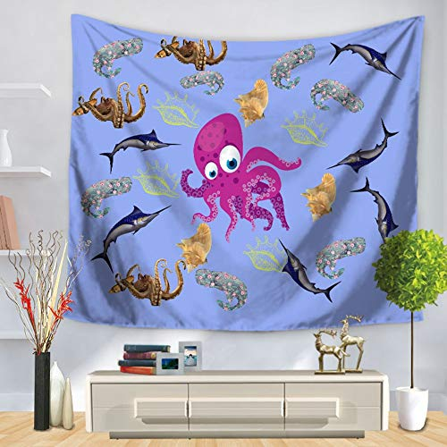 Tapestry Wall Hanging,Large Bohemia Hippie Gothic Psychedelic Trippy Ethnic Purple Octopus and Fish Cartoon Marine Life Digital Print Fabric Modern Abstract Art Home Wall Decor for Living Room