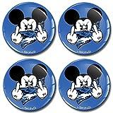 SkinoEu® 4 x 50mm Adesivi Resinati 3D Gel Stickers Auto Coprimozzo Universale Logo Silicone Autoadesivo Stemma Adesivo Copricerchi Tappi Ruote Colore Dito Medio Mickey Mouse Topolino A 3750