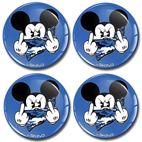 SkinoEu® 4 x 60mm Aufkleber 3D Gel Silikon Autoaufkleber Stickers Micky Mittelfinger Blau Felgenaufkleber Für Radkappen Nabenkappen Radnabendeckel Rad-Aufkleber Nabendeckel Auto Tuning A 3760