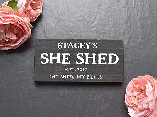 Personalised She Shed Wooden Sign | Woman Cave | Est. Year | Plaque | My Shed My Rules | Mother | Mum | Gift | Wife | Present | Femme Den | Lady Lair