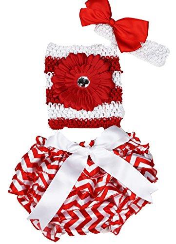 Fleur rouge à rayures Blanc Tube Top Chevron satiné bébé bloomer en dentelle Lot de 3–12 m - Rouge - taille unique