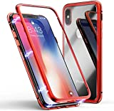 YTM YAN Compatible with iphong iPhone 11 Por case Magnetic Metal Frame Front and Back Tempered Glass Full Screen Coverage One-Piece Design Flip Cover