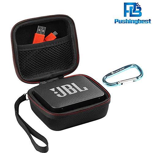 PushingBest Tasche für JBL Go 2, Harter Eva Schutzhülle Schutztasche für JBL Go, JBL GO 2 Bluetooth Lautsprecher, Netztasche für Ladegeräte & Kabel(Nur Tasche)