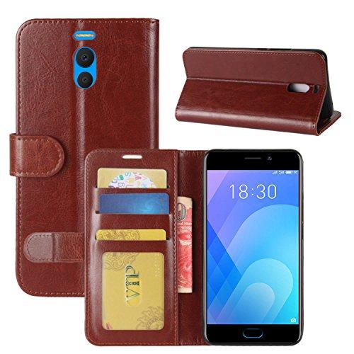 HualuBro Custodia Meizu M6 Note, Retro Custodia in Pelle PU Leather Portafoglio Wallet Protettiva Flip Case Cover per Meizu M6 Note Smartphone - Marrone