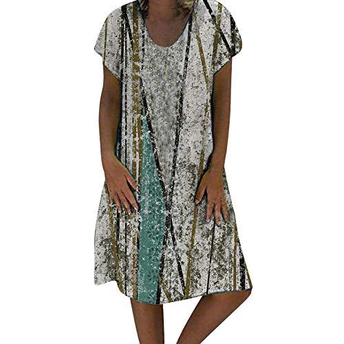 Lalaluka Vestidos de verano para mujer, Midi, vintage, africana, escote en V, floral, vestido de playa, vestido bohemio verde menta XL