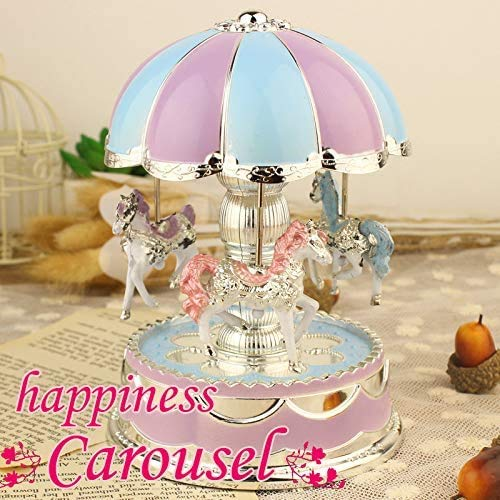 HTNBO Creative Wondeful Gift, Romantic Merry-Go-Round Music Box Baby's Room Lamp Bedside Light Home Decor Carousel Kid Gift