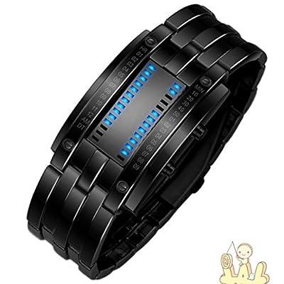 IEason,Luxury Men's Stainless Steel Date Digital LED Bracelet Sport Watches (Black)