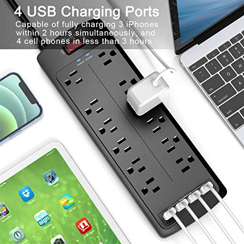 Power Strip , Nuetsa Surge Protector with 12 Outlets and 4 USB Ports, 6 Feet Flat Plug Extension Cord (1875W/15A) for for Home, Office, Dorm Essentials, 2700 Joules, ETL Listed (Black)