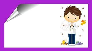 Kit 96 Etiquetas Mi Primera COMUNIÓN - Pegatinas Adhesivas Personalizables Niño Marinero Comunion para Regalo, Invitacion, Fiesta, Candy Bar, Obsequios, Botes Chuches, Dulces, Tarros