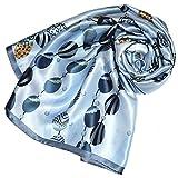 Lorenzo Cana Foulard pour la femme – écharpe de 100% soie pour le printemps et l´été, carré avec les mesures de 90 x 90 cm – une sensation de luxe en bleu clair vert beige ocre