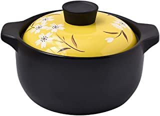 Cerámica Cazuela Salud Olla De Sopa,Open Fire Universal Cocotte,Leche Postre Cocinar Arroz Resistente Al Calor Guisada Amarillo 3,8 Litros