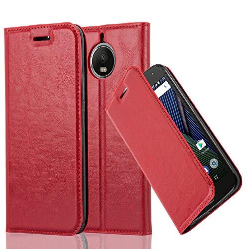 Cadorabo Hülle für Motorola Moto G5S Plus - Hülle in Apfel ROT – Handyhülle mit Magnetverschluss, Standfunktion und Kartenfach - Case Cover Schutzhülle Etui Tasche Book Klapp Style