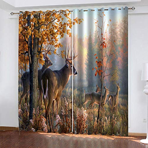 LWXBJX Blackout curtains for kids bedroom - Autumn Trees elk - 3D Print Pattern Eyelet Thermal Insulated - 79 x 63 inch - 90% Blackout Curtains for Kids Boys Girls Playroom