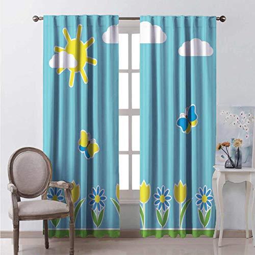 Toopeek - Cortina de aislamiento térmico para niños, diseño de mariposas, color amarillo y azul