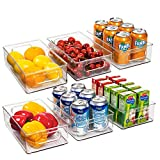 Ecowaare Plastic Storage Organizer Bins, 6 Pack Clear Stackable Food Storage Bins for Pantry,Refrigerator, Freezer,Cabinet,Kitchen Organization and Storage, BPA Free, 10x 6 x 3 inches