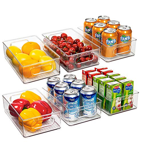 Ecowaare Plastic Refrigerator Organizer Bins, 6 Pack Clear Stackable Food Storage Bins for Pantry,Fridge,Cabinet,Kitchen Organization and Storage, BPA Free, 10x 6 x 3 inches
