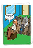 NobleWorks - 1 Funny Animal Card for Birthdays - Pet Cat and Dog Humor, Birthday Notecard with Envelope - Cat Question C3674BDG