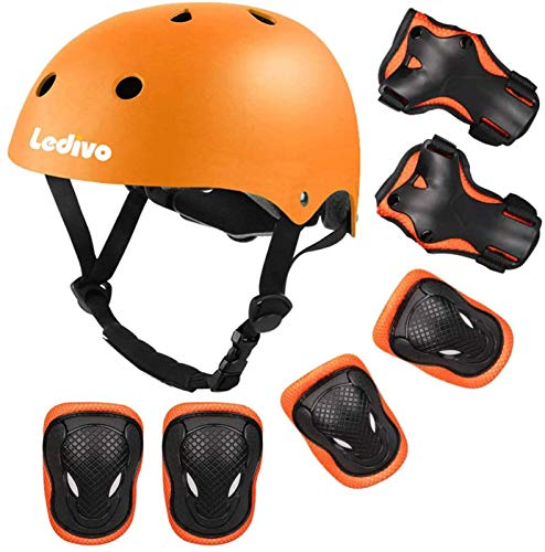 LEDIVO Kids Adjustable Helmet Suitable for Ages 8-14 Years Toddler Boys Girls, Sports Protective Gear Set Knee Elbow Wrist Pads for Bike Bicycle Skateboard Scooter Rollerblading