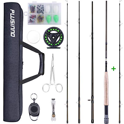 PLUSINNO Fly Fishing Rod and Reel Combo, 4 Piece Lightweight...