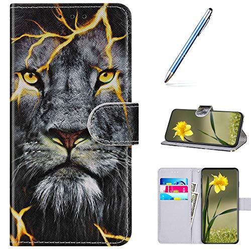 Kompatibel mit Samsung Galaxy A40 Handyhülle Leder Handytasche,Flip Case mit Bunt Muster Schutzhülle Brieftasche Magnet Kartenfächer Lederhülle Kratzfest Tasche Bookstyle Klapphülle,Löwe Auge