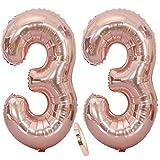 2 Globos Número 33 Oro Rosa, Ouceanwin Gigante Foil Globos Numeros 33 Grande Globo de Papel de Alumini, 40 Globo Inflable Helio para Decoraciones de Fiesta de Cumpleaños 33 Años Señoras (100cm)