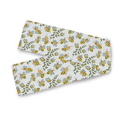 TropicalLife F17 - Camino de mesa rectangular, diseño de abejas, hojas de flores de 33 x 177 cm, poliéster, decoración para bodas, cocina, fiestas, banquetes, comedores, mesas de centro