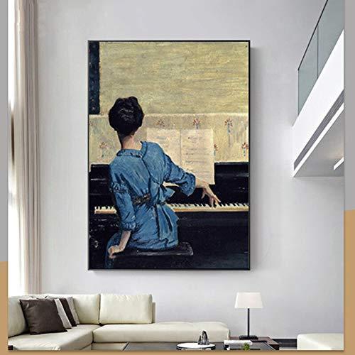 Kunst Mädchen Frau Klavier Poster und Drucke Öl Wandkunst Bild für Wohnzimmer Schlafzimmer Wohnkultur Dekoration rahmenlose Malerei 42cmX56cm