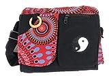 Ethnique Mode Bolso bandolera, bolso hippie, étnico, algodón y cuero para el indio femenino femenino (Rojo)