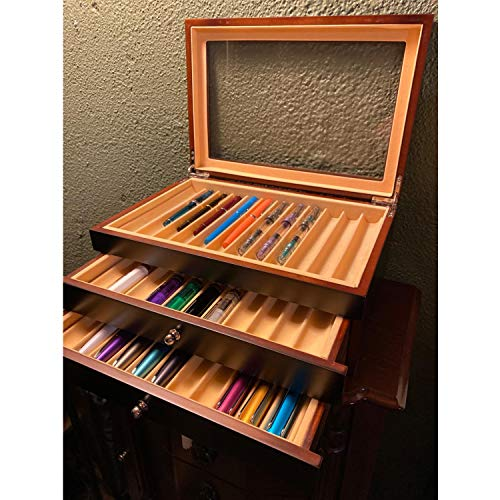 uyoyous 34 Piece Wood Pen Display Box Glass Pen Display Case Storage Fountain Pen Collector Organizer Box with Lid Glass Window 3 Layers with Drawer Black,Wooden Grain (12.2 x 8.3 x 4.9 inch)