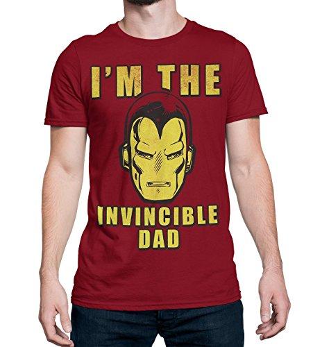 Camiseta masculina Homem de Ferro I'm The Invincible Dad, Vermelho, M