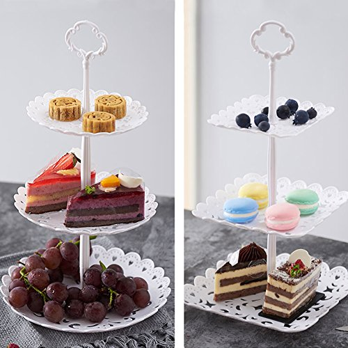 2 Set of 3-Tier Plastic Cupcake Stand Dessert Plates Mini Cakes Fruit Candy Display Tower White for Kids Birthday Tea Party Baby Shower Serving Tray Small