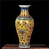 ZNYLX Jarrones Florero Jarrn Jingdezhen Antiguo jarrn de Porcelana decoracin clsica jarrones Chinos, Amarillo longevityvase
