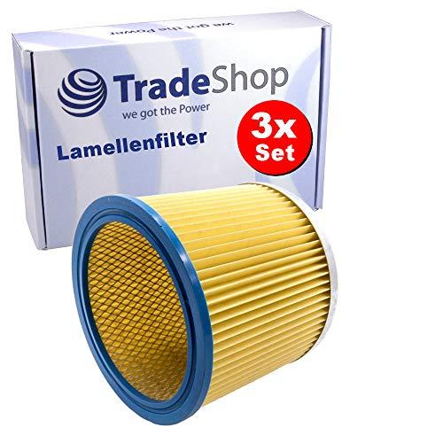 3x Ersatz Lamellenfilter / Dauerfilter / Rundfilter für viele Staubsauger wie Kärcher NT221 Rowenta RU03 Parkside PNTS 1250 Nasssauger Trockensauger