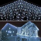 Guirnaldas Luminosas de Exterior 10M 400 LED, Cortina de luz para Interiores, Cadena de Luces de Jardín Impermeable para Decoración de Interiores y Exteriores para Navidad, Bodas, Fiestas (Blanco)