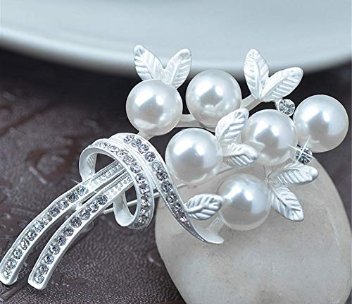 N/W Brooches For Women Ladies Rhinestone Pearl Brooch Silver Color Gift Jewellery Brooch Pins