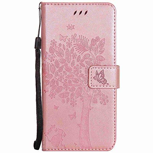 pinlu® PU Ledertasche Etui Schutz Hülle für Xiaomi Mi5 Katze Baum Muster Design Lederhülle im Bookstyle Schale Flip Cover mit Kartenfach & Standfunktion (Roségold)