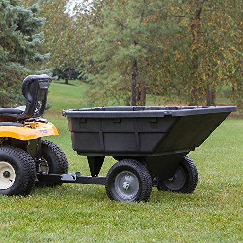 Ohio Steel Ohio Steel 4048P-HYB 15 Cubic Foot Swivel Garden Tractor and Lawnmower Utility Dump Cart with Turf Tread Tires and Spring Loaded Hitch Pin