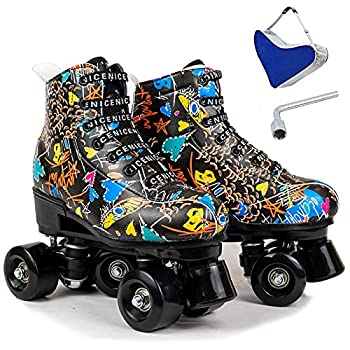 Wuwer Outdoor Roller Skates for Women PU Leather High-top 4 Wheel Roller Skates Adult Women for Perfect Beginner Skates with Shoes Bag Black Black wheel36- US  5.5