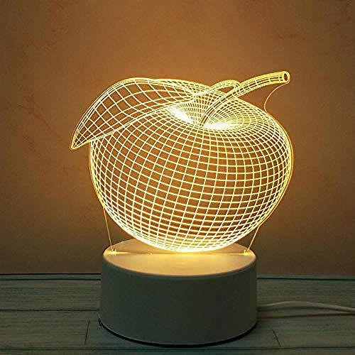 wangzj Night Lights Lámpara pequeña Luces de interior Mini-Apple Lámpara de noche USB Lámpara de noche Lámpara de mesa 3D Regalo de Halloween
