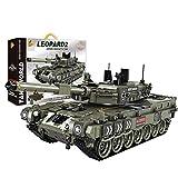 Oeasy Baustein Panzer Modell, WW2 German Leopard 2A4 Militär Panzer Bauset, 1747 Klemmbausteine Kompatibel mit Lego Technik