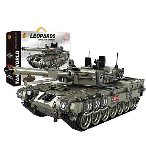 TETAKE Technik Panzer Modell, WW2 Deutschland Leopard 2 Militär Tank Bausteine Modellbausatz mit 1747 Teile, Klemmbausteine Konstruktionsspielzeug Kompatibel mit Anderen Marken