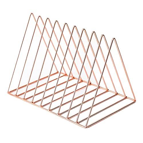 Nai-storage Estante Almacenamiento Discos Vinilo LP,Organizador Carpetas Escritorio,Estante Triangular Metal Lron para CD/DVD/Estante Colección (Color : Rose Gold)