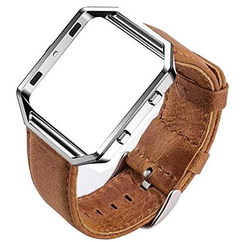 MroTech Compatible para Fitbit Blaze Correa con Marco Correa de Reloj de Cuero Genuino Vintage Pulseras de Repuesto Compatible Fitbit Blaze Smartwatch (Correa de marrón/Marco de Plata)