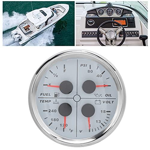 Voltímetro para barcos, voltaje de trabajo ultra ancho, medidor de nivel de aceite multifuncional 4 en 1 con motores paso a paso para barcos, yates, coches de salón para modificación de