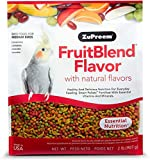 ZuPreem FruitBlend Flavor Pellets Bird Food for Medium Birds | Powerful Pellets Made in The USA, Naturally Flavored for Cockatiels, Quakers, Lovebirds, Small Conures (2 lb Bag)