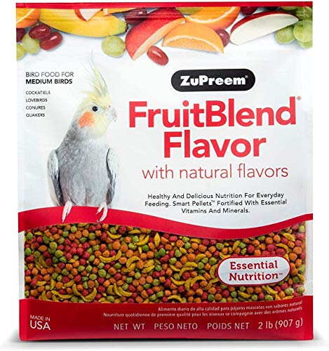 ZuPreem FruitBlend Flavor Pellets Bird Food for Medium Birds, 2 lb - Powerful Pellets Made in USA, Naturally Flavored for Cockatiels, Quakers, Lovebirds, Small Conures