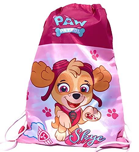 Coole-Fun-T-Shirts MIT NAME Turnbeutel Rucksack Kinderrucksack für Mädchen kompatibel zu Paw Patrol ,KITA Schule Kindergarten Grundschule Sport Training Kindergeburtstag 38X26X cm ROSA